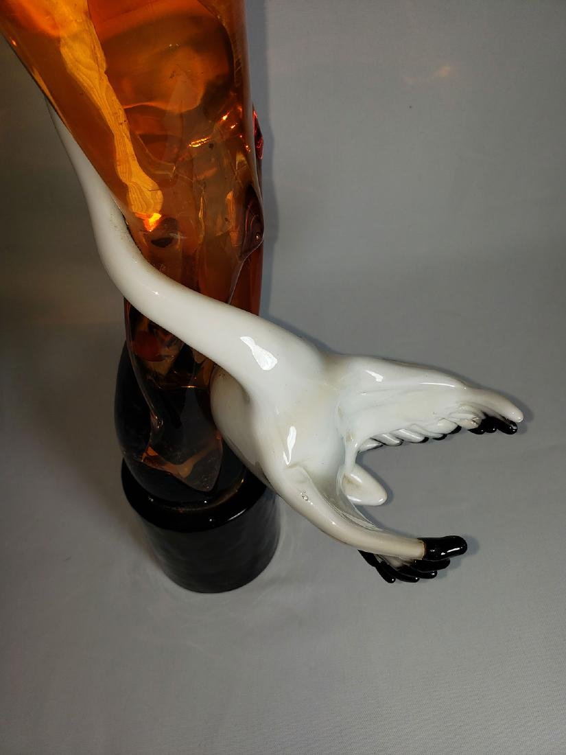 Superb Signed Art Glass  Murano Sculpture Leda & Swan - 13