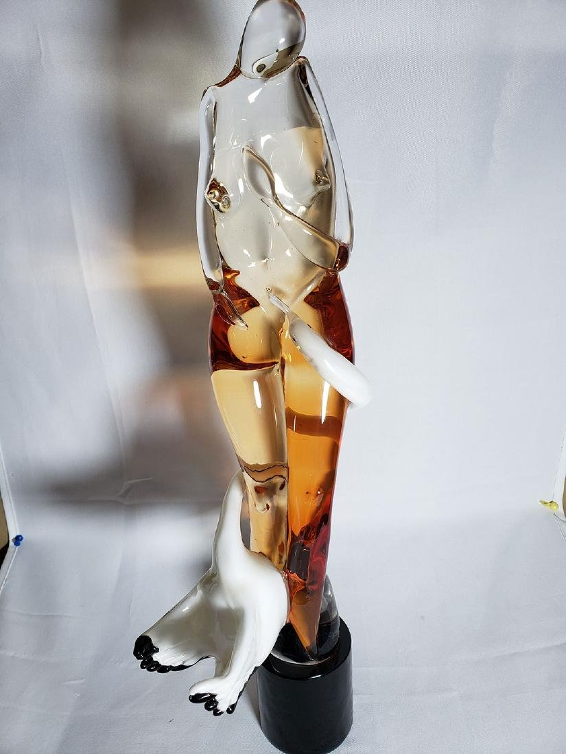Superb Signed Art Glass  Murano Sculpture Leda & Swan