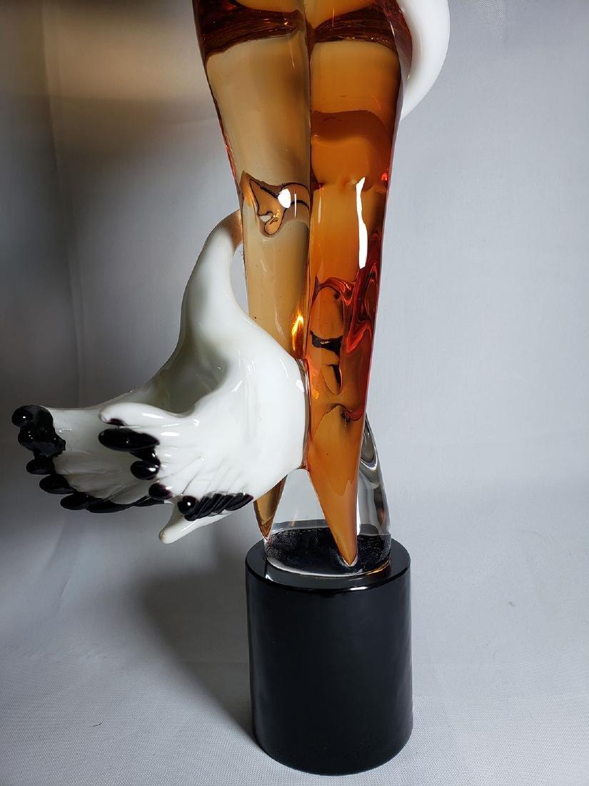 Superb Signed Art Glass  Murano Sculpture Leda & Swan - 3