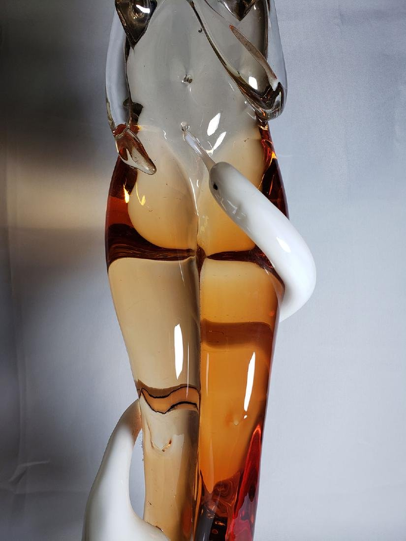 Superb Signed Art Glass  Murano Sculpture Leda & Swan - 4