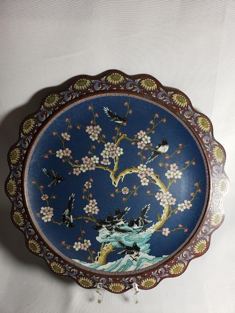 A Very Fine Oriental Cloisonne Charger On Bronze 19 c