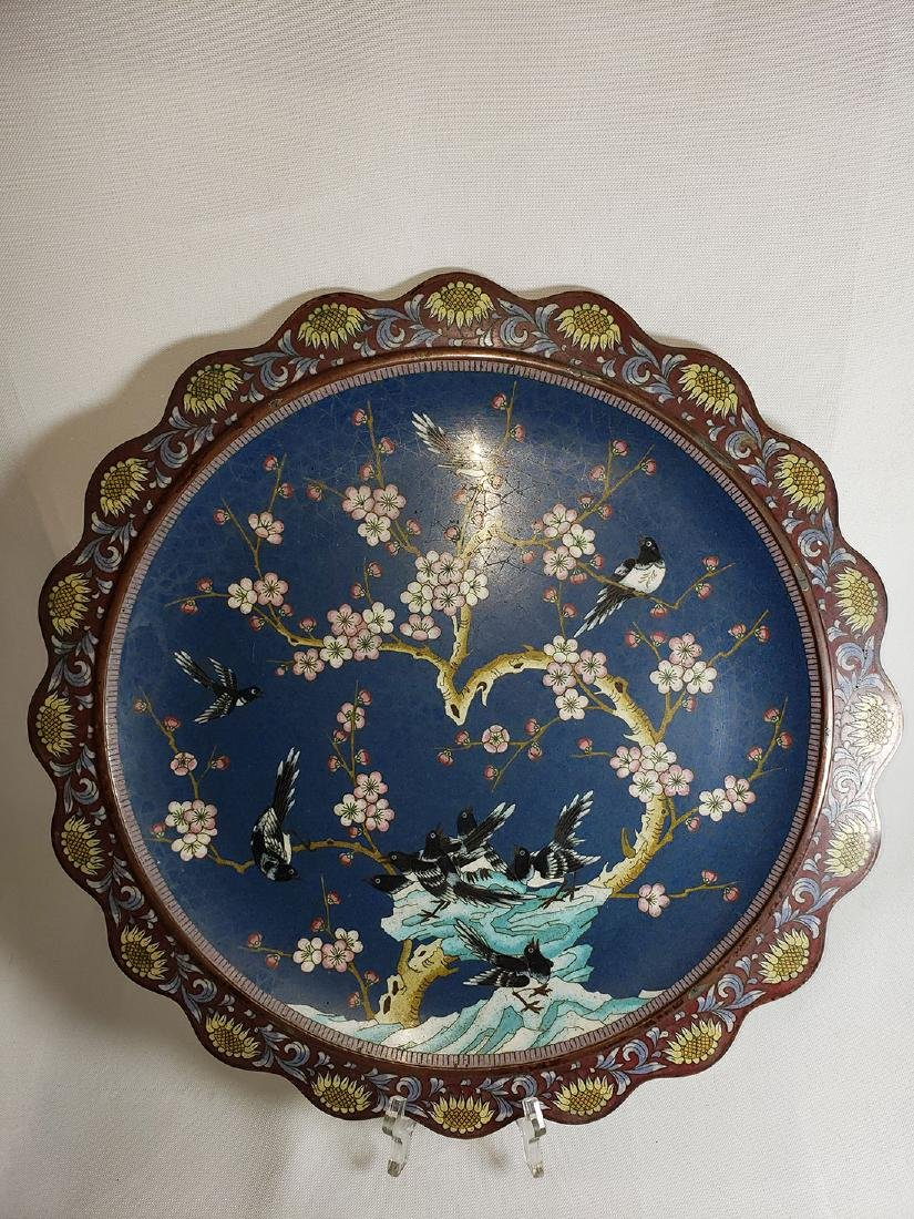 A Very Fine Oriental Cloisonne Charger On Bronze 19 c - 2