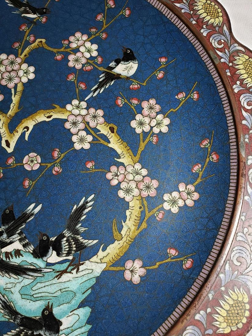 A Very Fine Oriental Cloisonne Charger On Bronze 19 c - 4