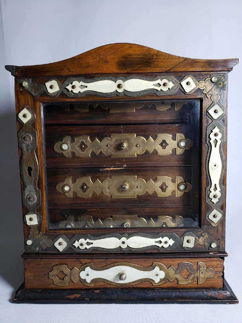 A Fine Antique Jewelry Cabinet W Beveled Glass 19th C