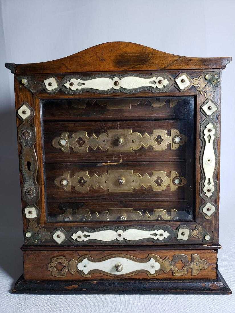 - A Fine Antique Jewelry Cabinet W/ Beveled Glass 19th C