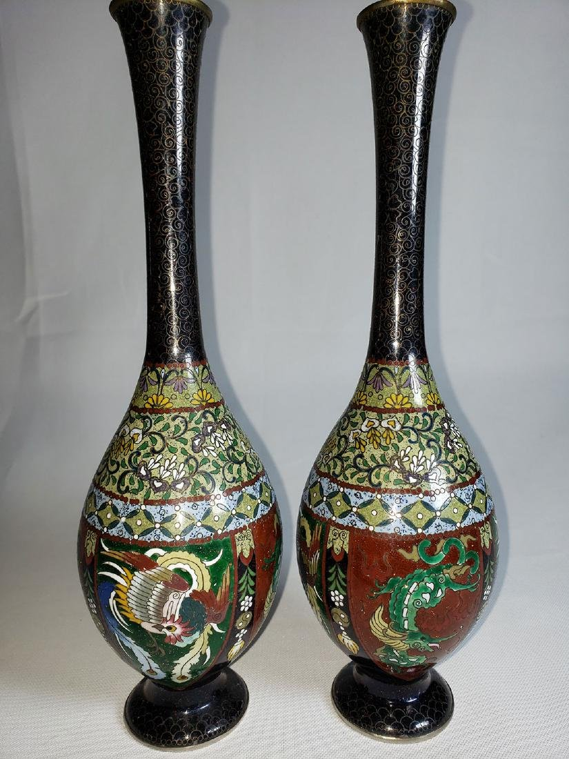 Pair Of Classic Japanese Cloisonne Stick Vases 19th C