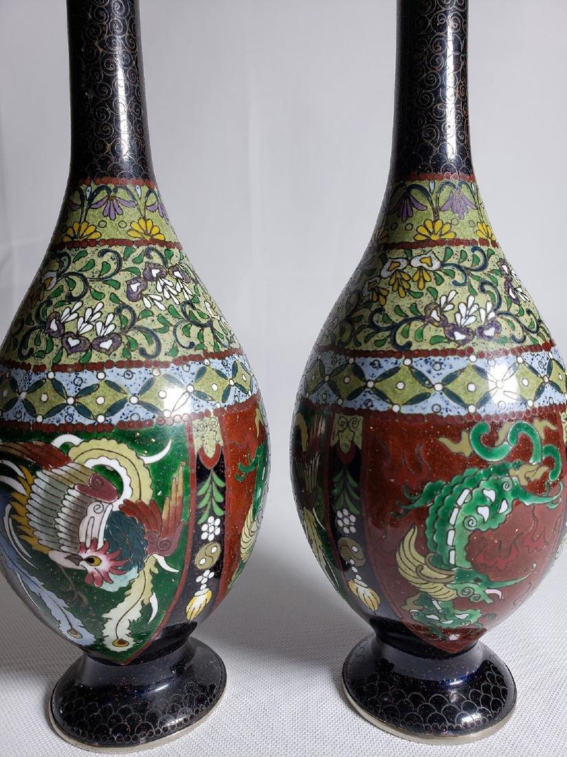 Pair Of Classic Japanese Cloisonne Stick Vases 19th C - 3