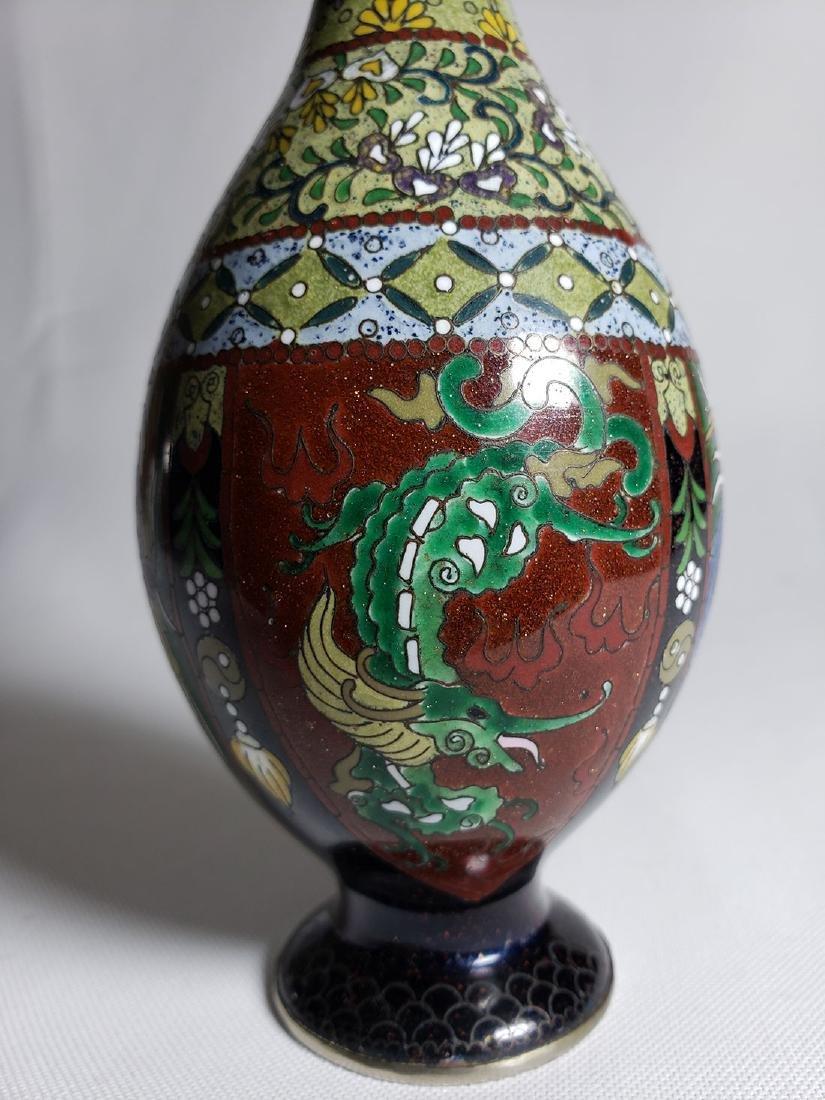 Pair Of Classic Japanese Cloisonne Stick Vases 19th C - 4