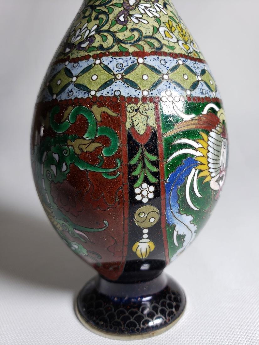 Pair Of Classic Japanese Cloisonne Stick Vases 19th C - 5