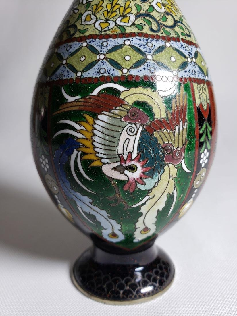 Pair Of Classic Japanese Cloisonne Stick Vases 19th C - 6