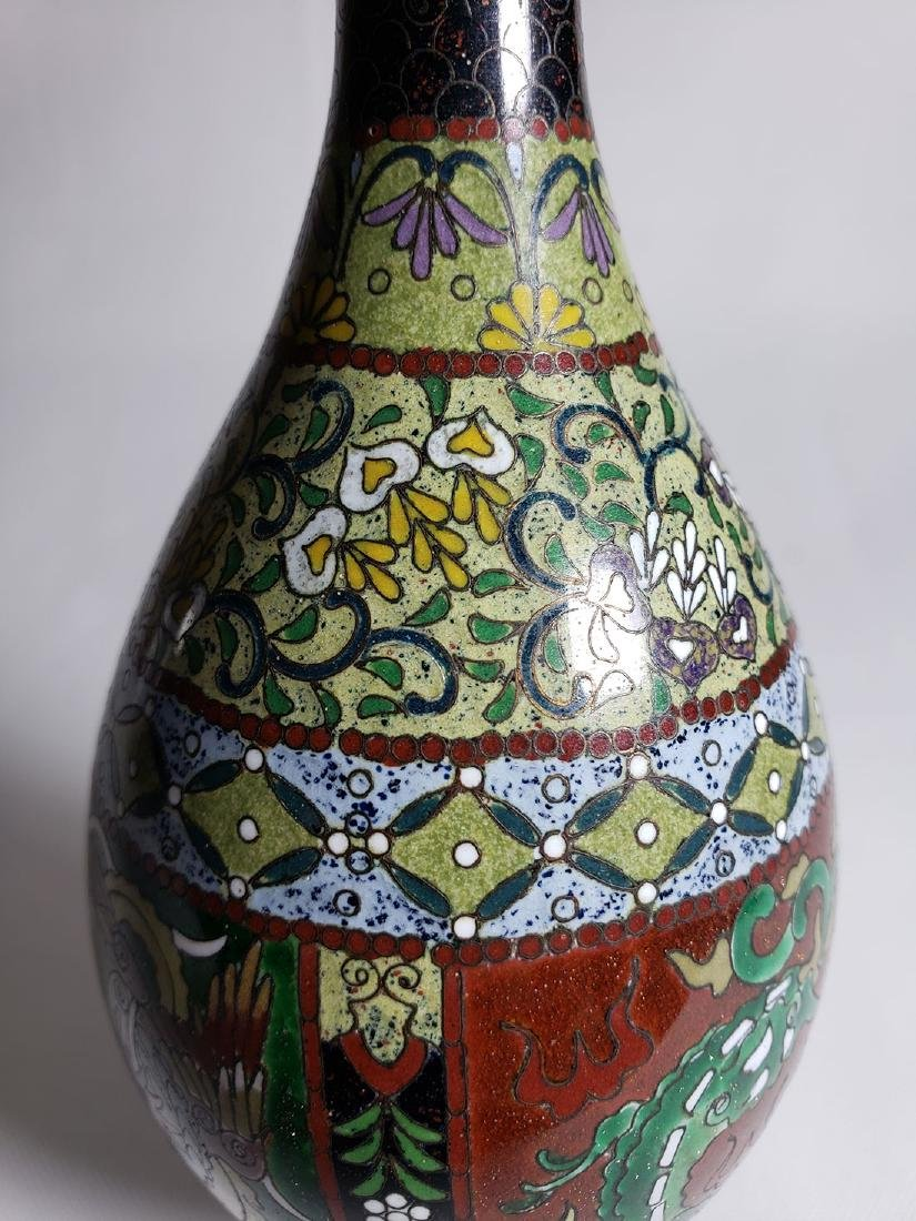 Pair Of Classic Japanese Cloisonne Stick Vases 19th C - 7