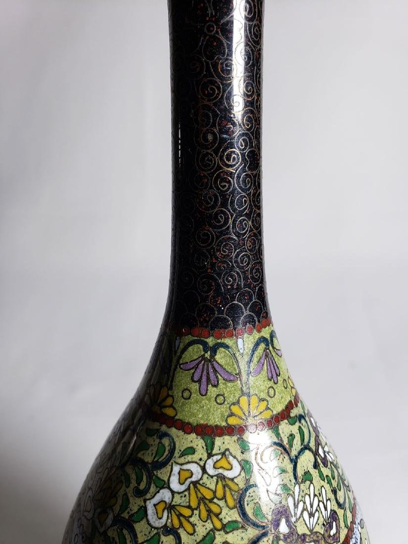 Pair Of Classic Japanese Cloisonne Stick Vases 19th C - 8
