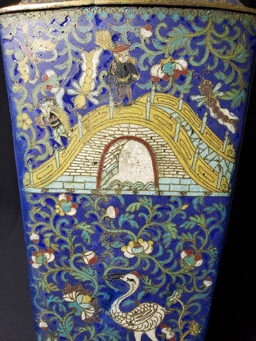A Very Fine Chinese Enamel Cloisonne Vase Ming Period - 2