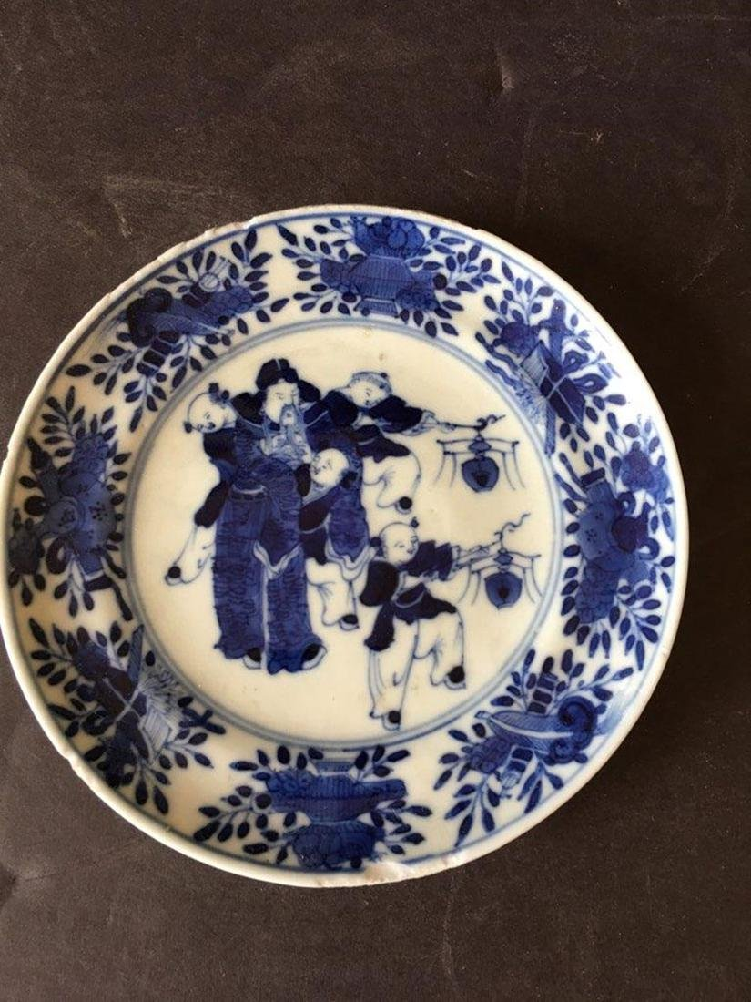A Fine Antique Chinese Blue & White Plate With Figures