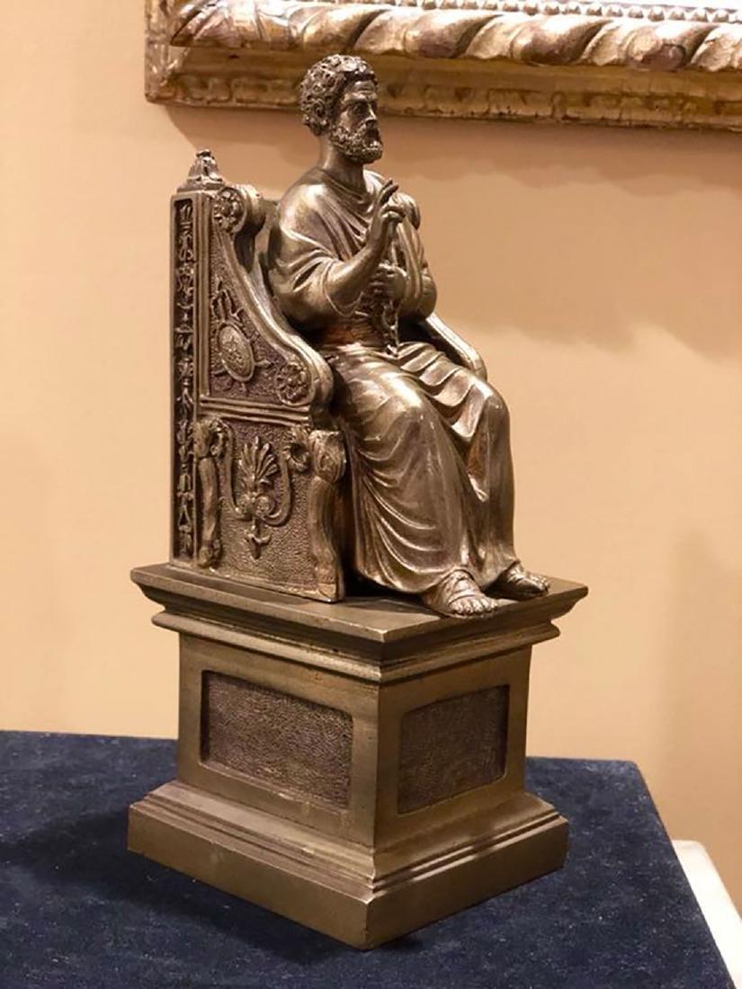 A Fine Antique Bronze Figure Of St Peter 19th C