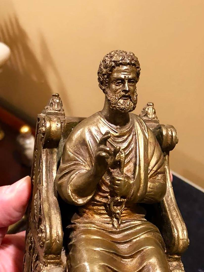 A Fine Antique Bronze Figure Of St Peter 19th C - 3