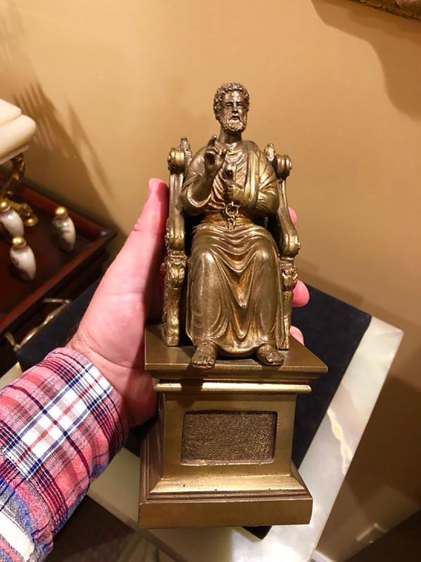 A Fine Antique Bronze Figure Of St Peter 19th C - 9