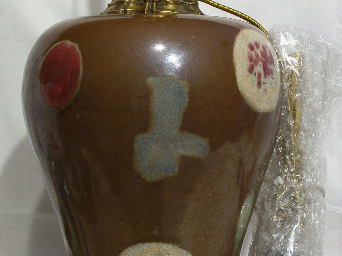 A Fine Antique Chinese Yongzheng Meiping Vase Lamp - 9