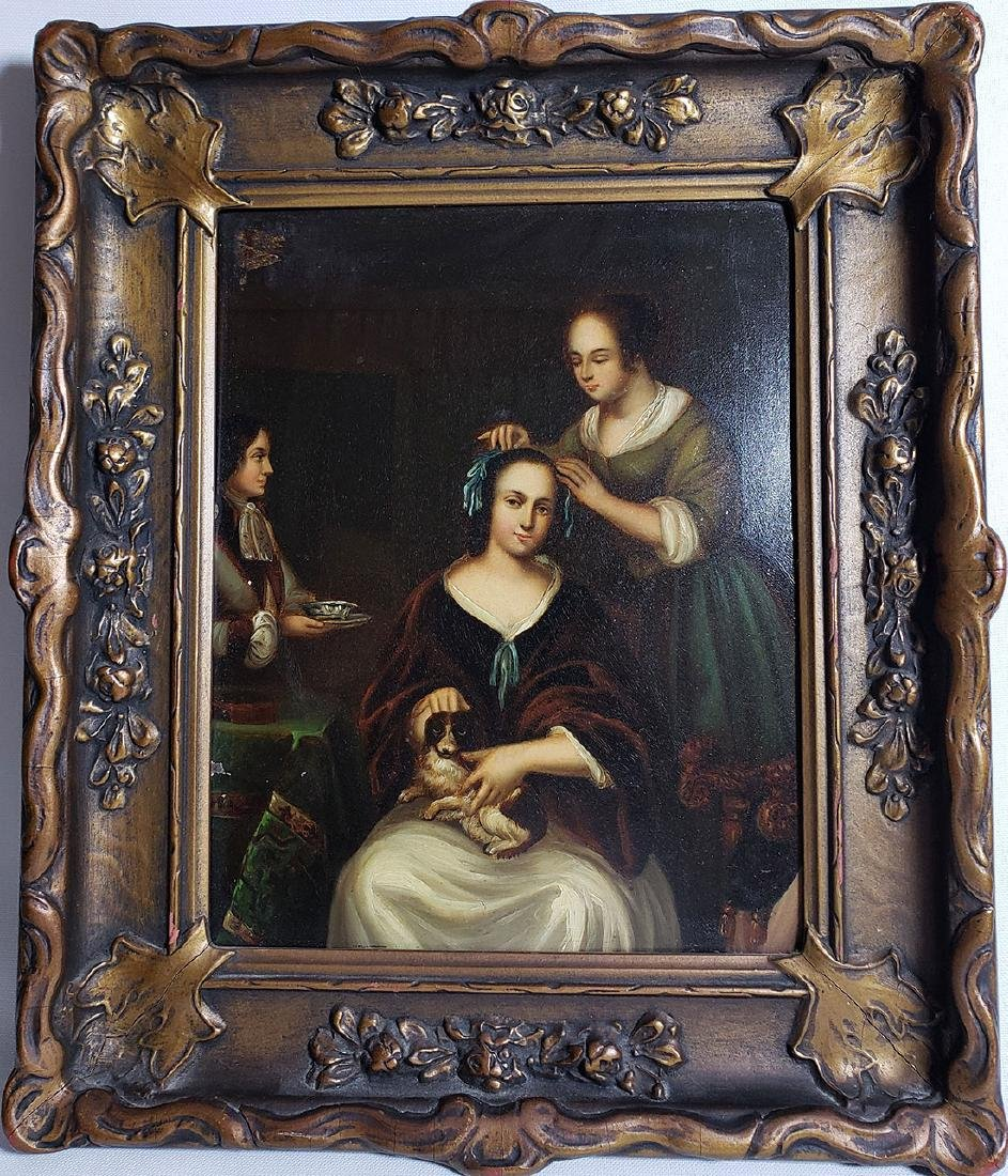 Antique Old Master Oil Painting Women W/ Dog on Tin