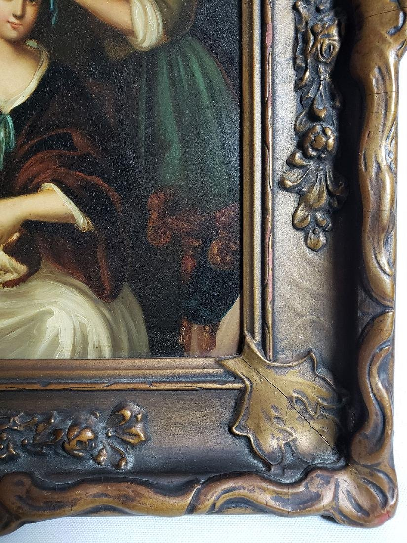 Antique Old Master Oil Painting Women W/ Dog on Tin - 2