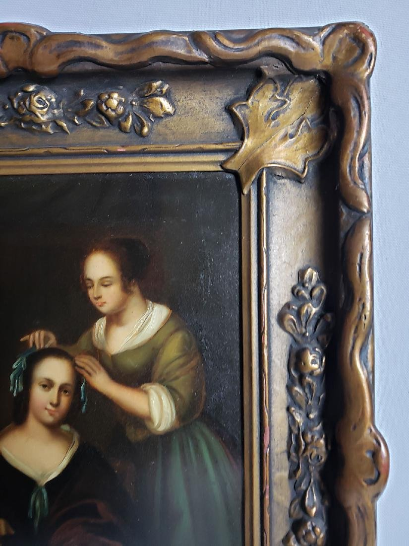 Antique Old Master Oil Painting Women W/ Dog on Tin - 3