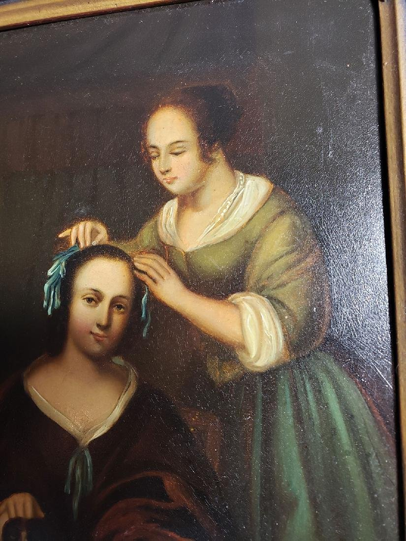 Antique Old Master Oil Painting Women W/ Dog on Tin - 4