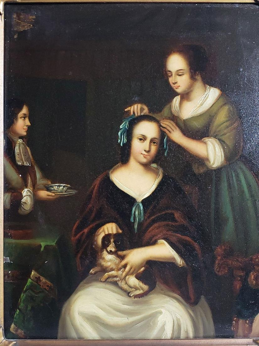 Antique Old Master Oil Painting Women W/ Dog on Tin - 8