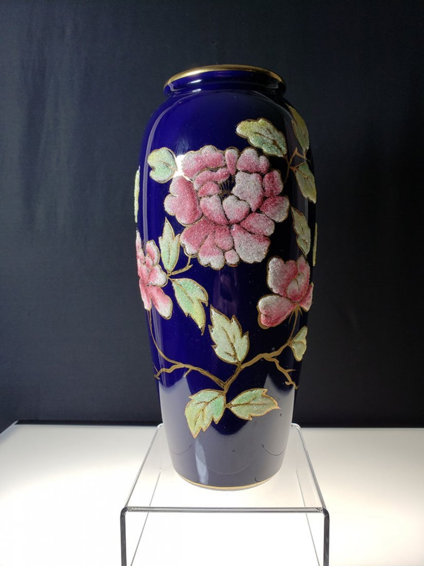 "A nice cobalt blue coralene vase 10 "" tall"