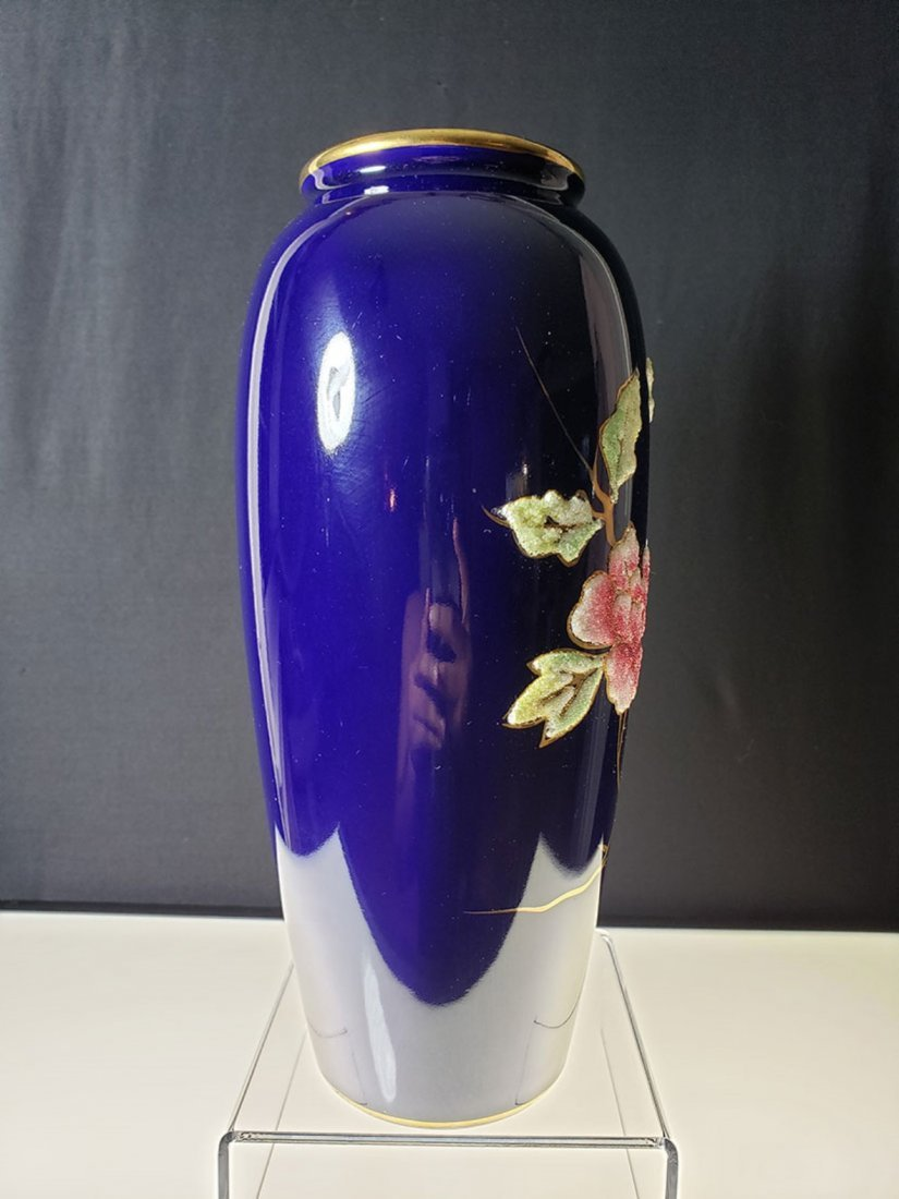 "A nice cobalt blue coralene vase 10 "" tall - 5"