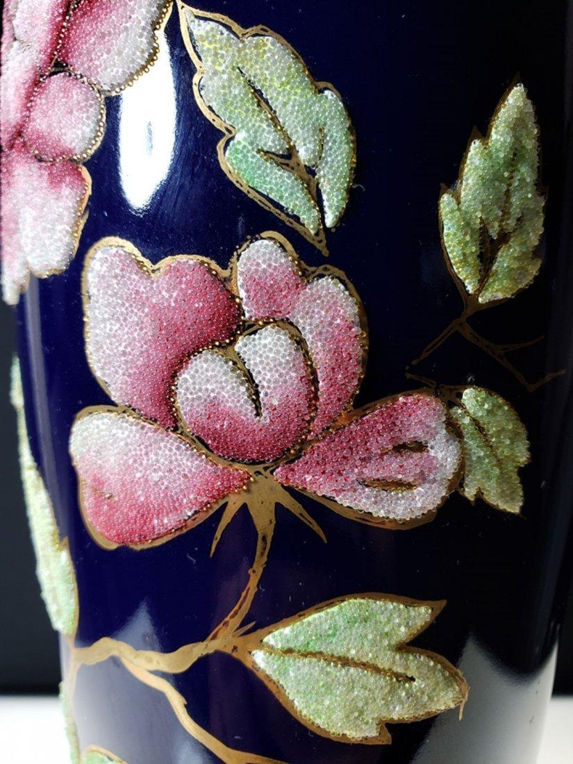 "A nice cobalt blue coralene vase 10 "" tall - 9"