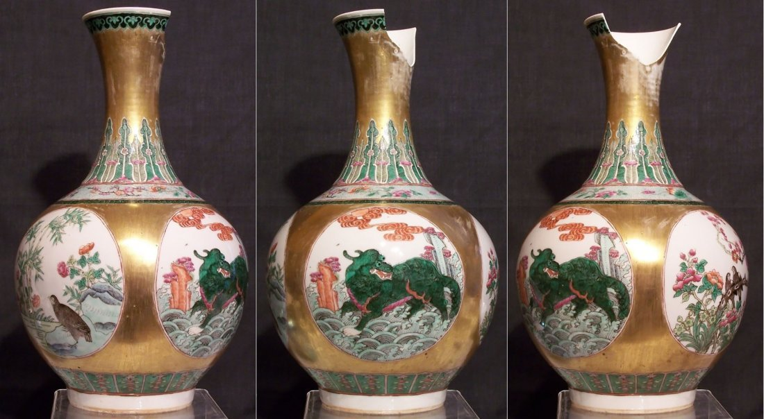 A fine early Chinese famille rose gilt ground vase - 2