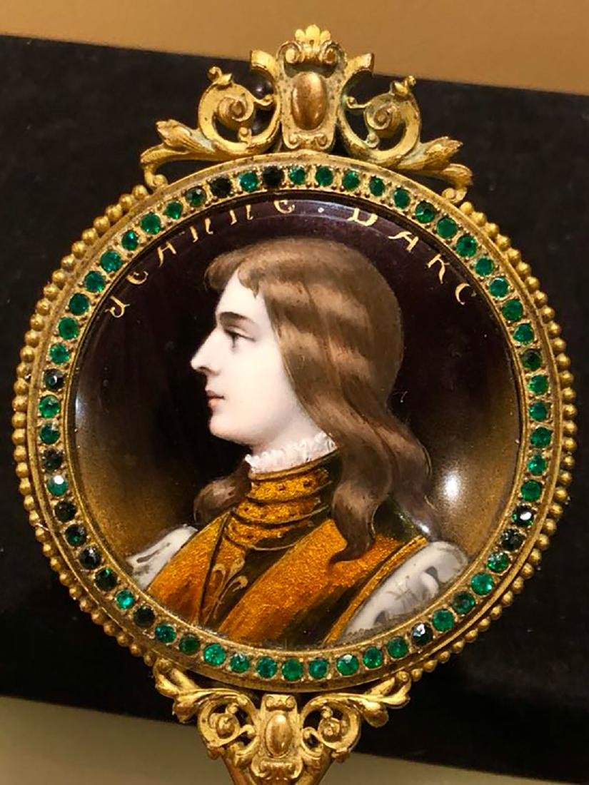 19th C Limoges Enamel Hand Mirror With Portrait