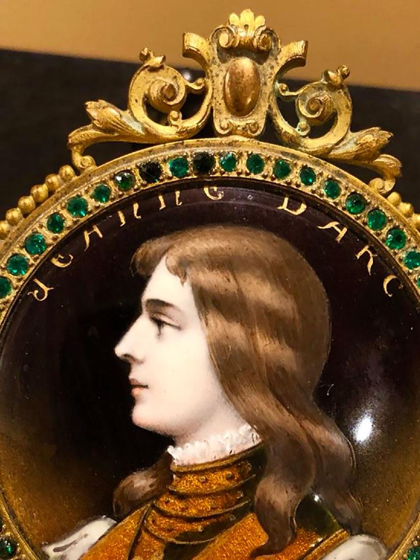 19th C Limoges Enamel Hand Mirror With Portrait - 3
