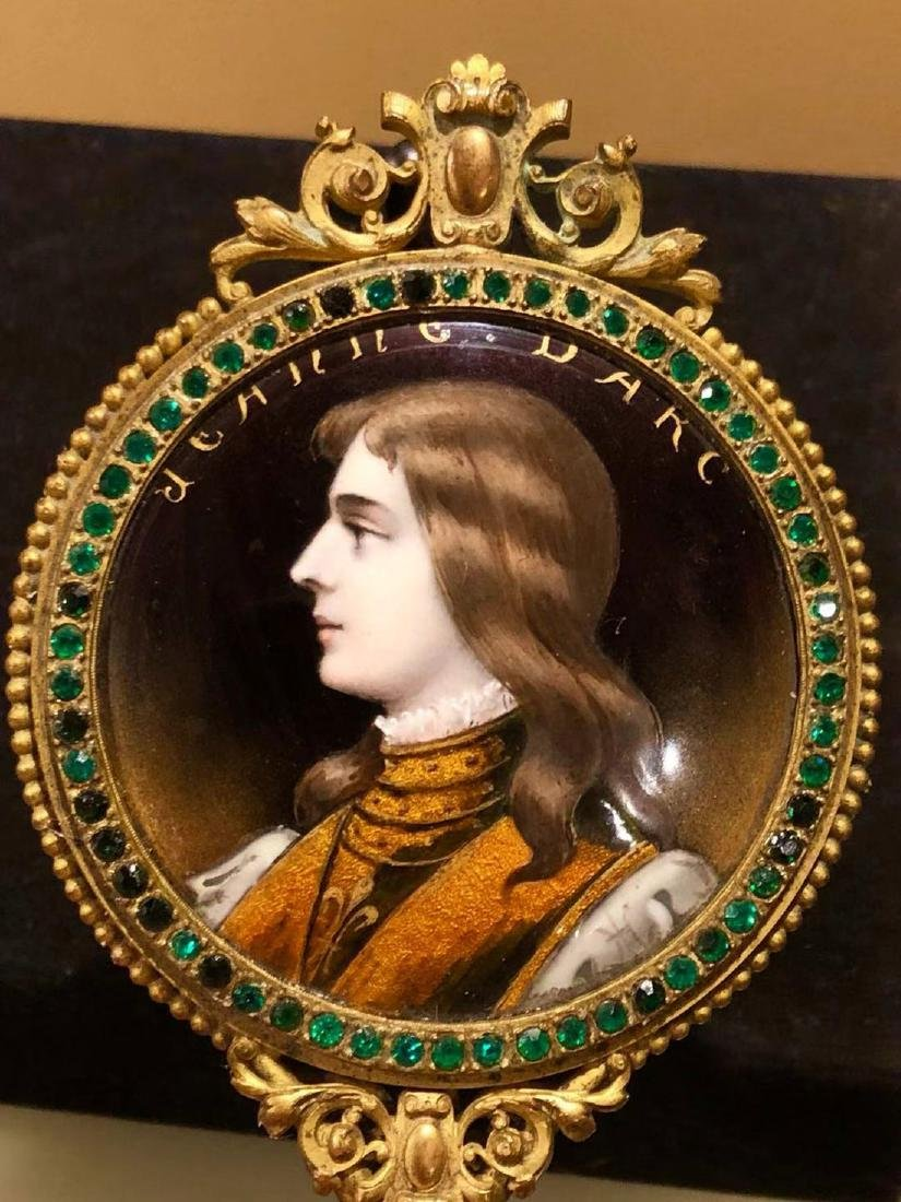19th C Limoges Enamel Hand Mirror With Portrait - 7