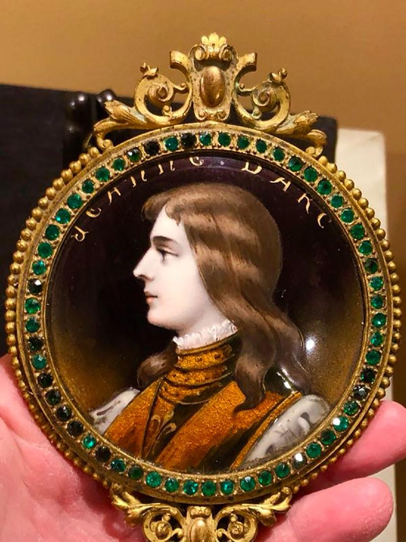 19th C Limoges Enamel Hand Mirror With Portrait - 8