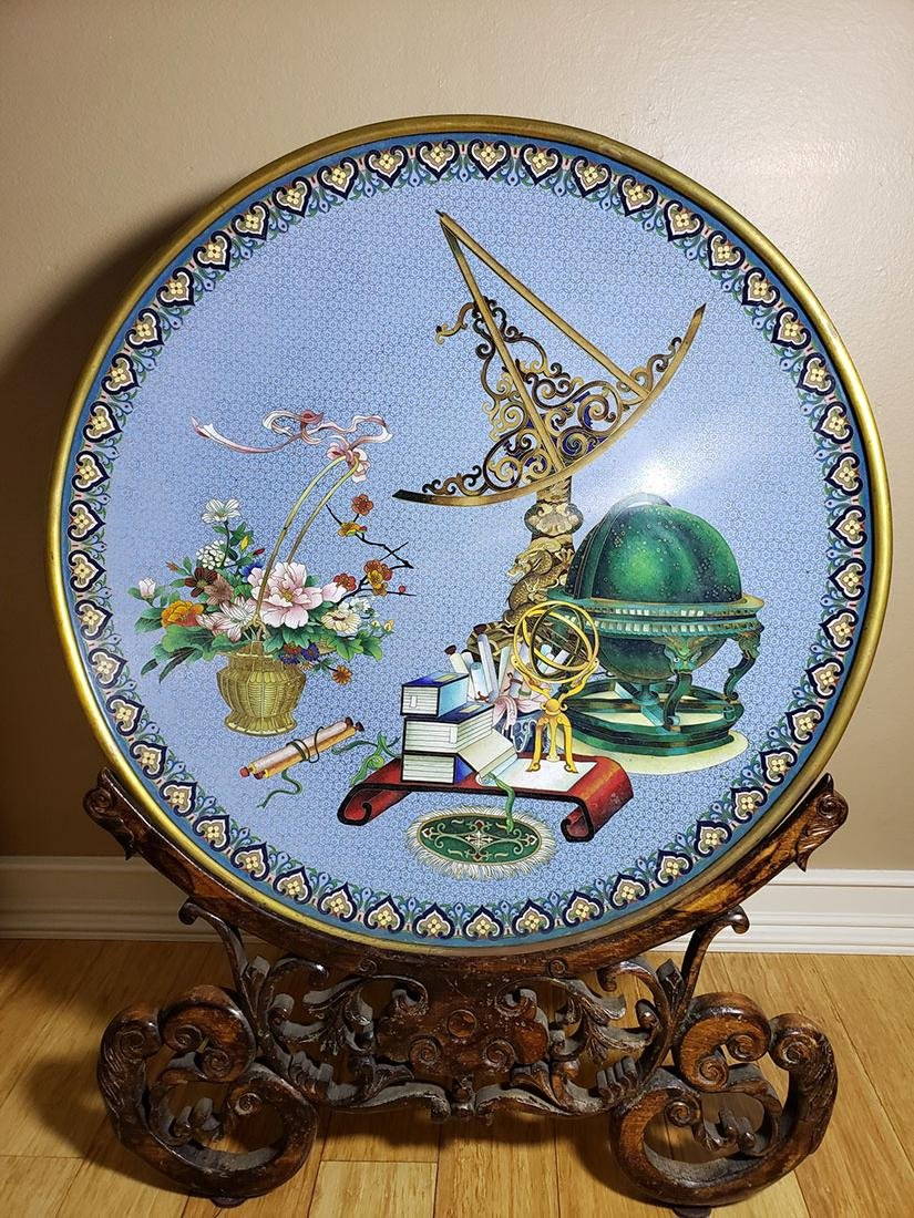 A fine Chinese cloisonne charger scholars desk