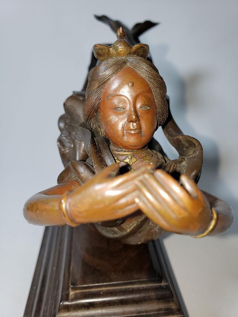 Antique Bronze Mixed Metal Lady 19th Century - 3