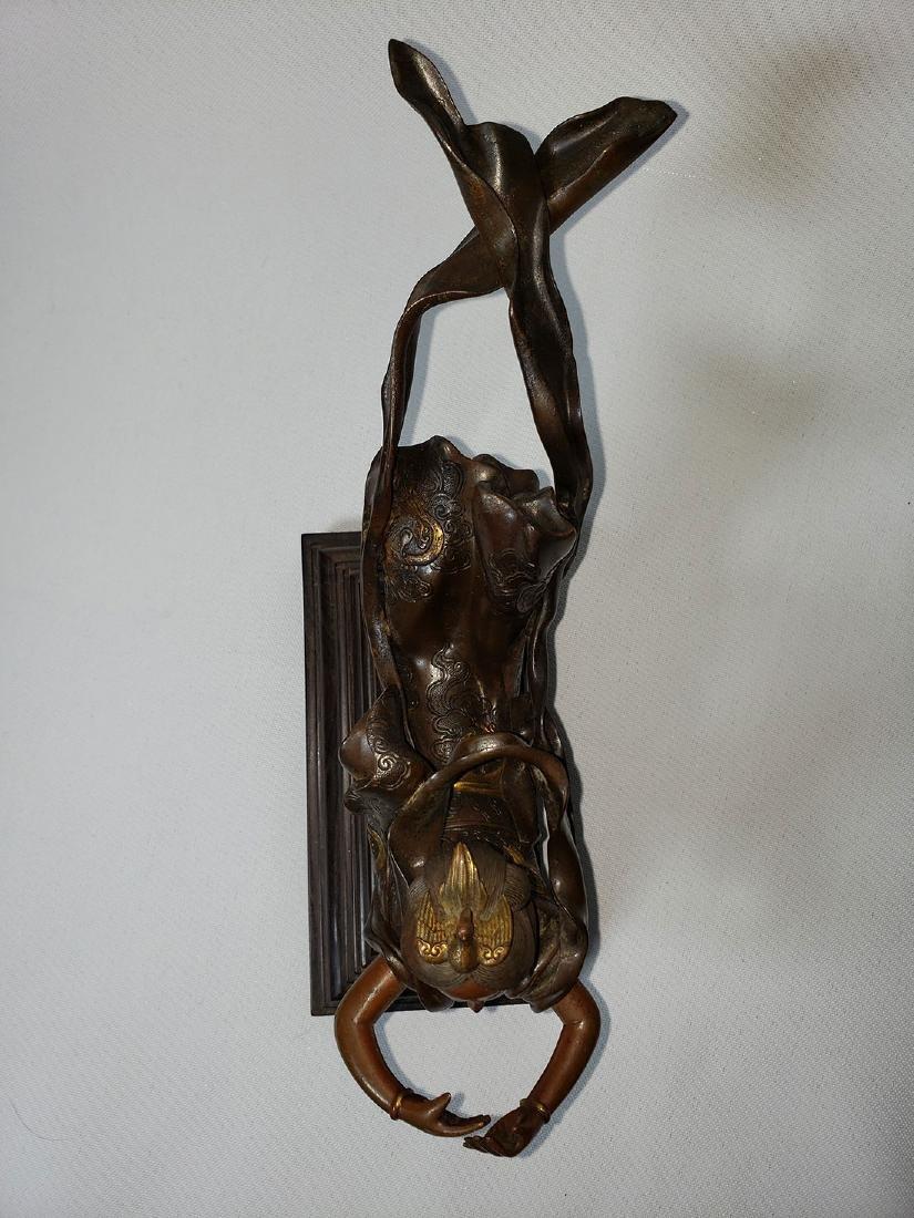 Antique Bronze Mixed Metal Lady 19th Century - 5