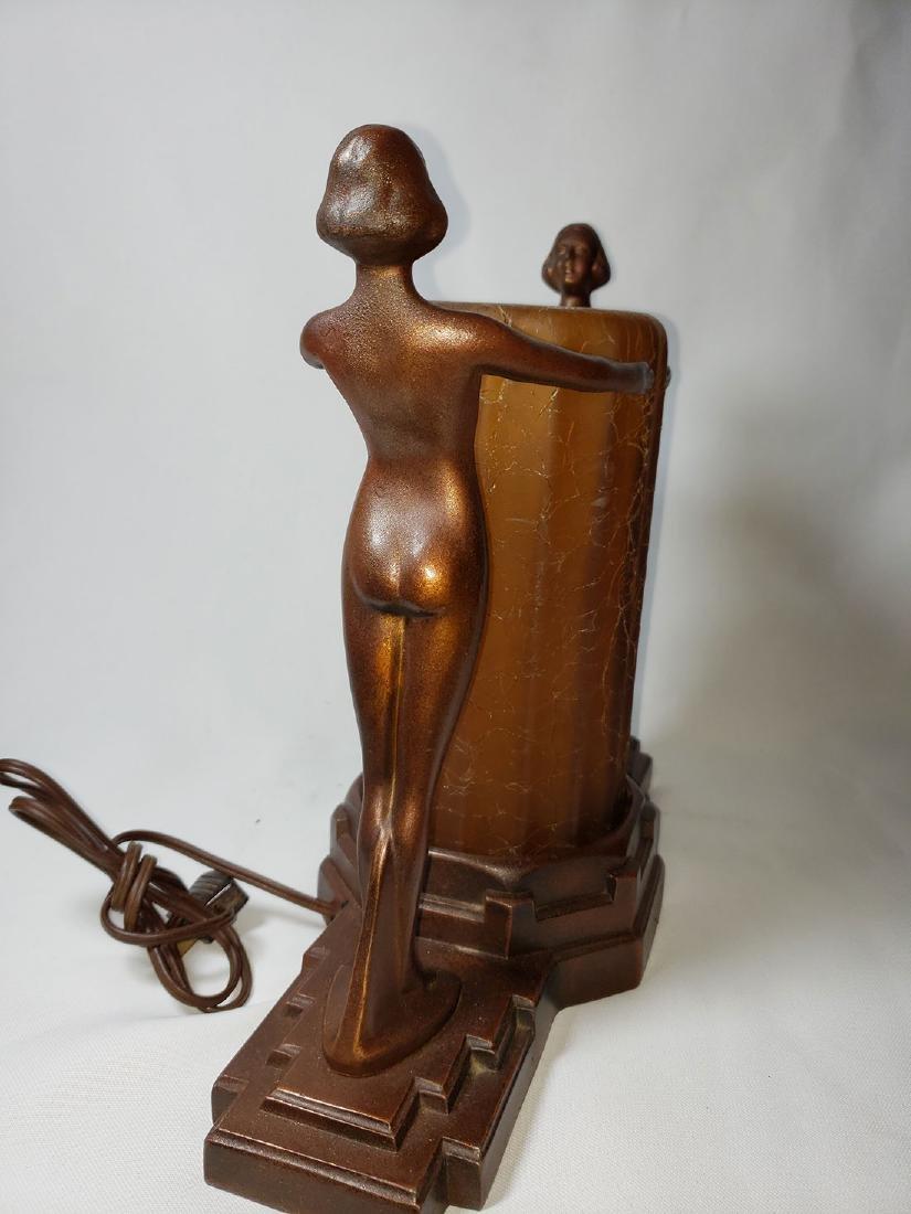 Antique Nuart Art Deco Nude Lady Lamp - 6