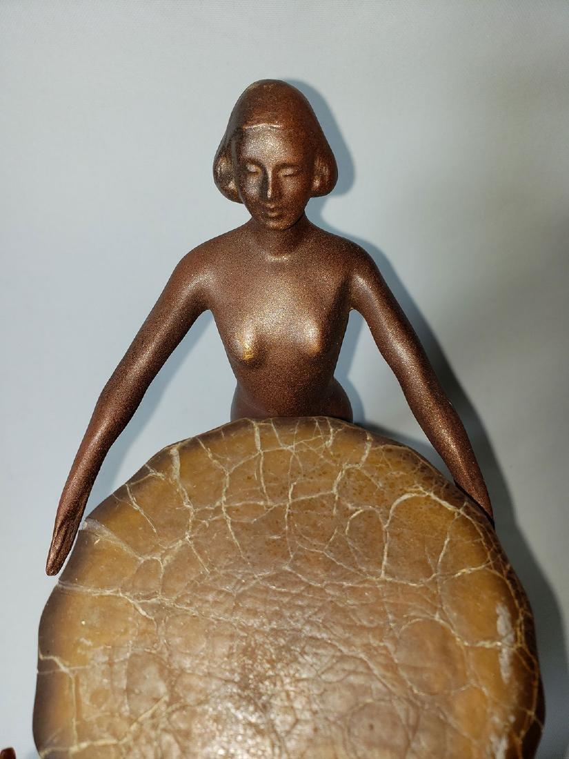 Antique Nuart Art Deco Nude Lady Lamp - 9