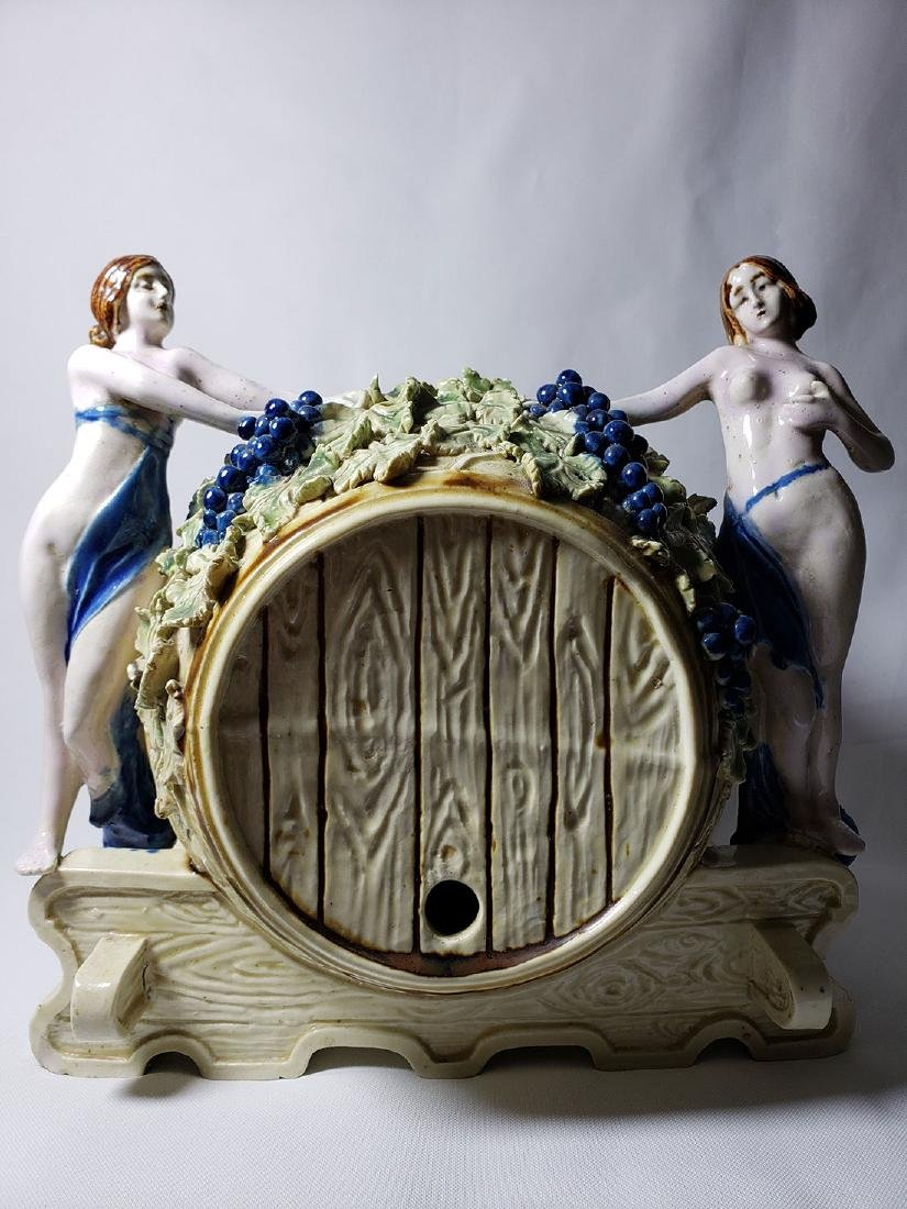 Antique Majolica Keg Ice Tea Dispenser w/ Nude Females