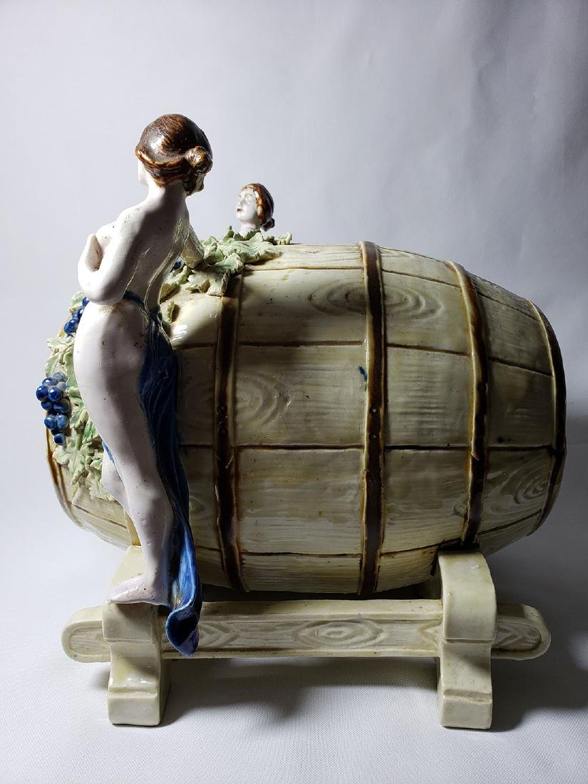 Antique Majolica Keg Ice Tea Dispenser w/ Nude Females - 7