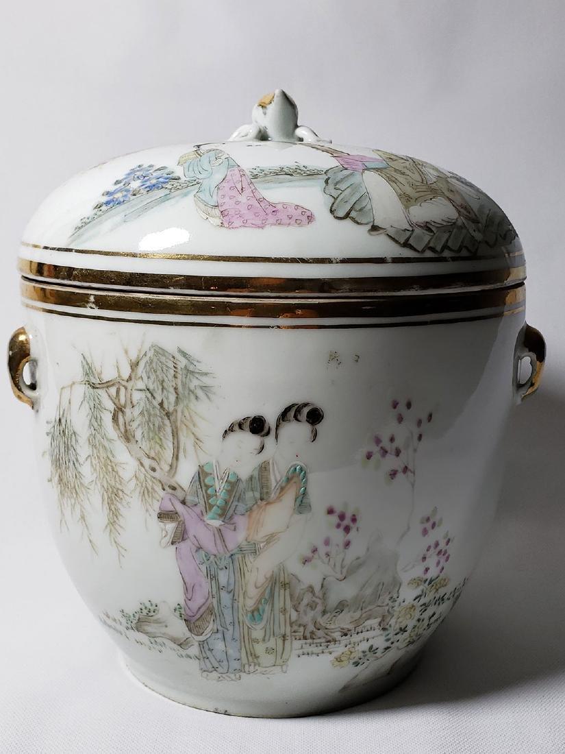 Antique Chinese Famille Rose Enamel Lidded Pot W/ Marks