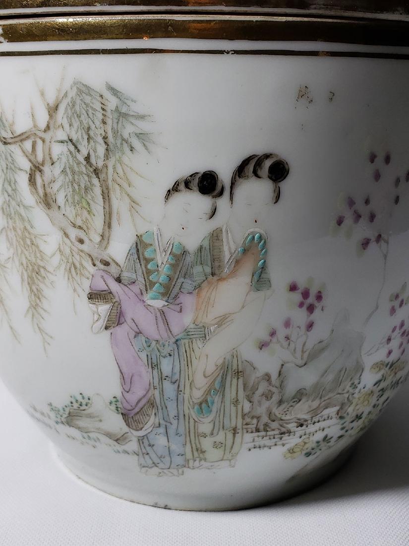 Antique Chinese Famille Rose Enamel Lidded Pot W/ Marks - 2