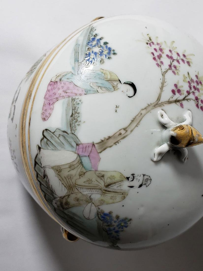 Antique Chinese Famille Rose Enamel Lidded Pot W/ Marks - 3