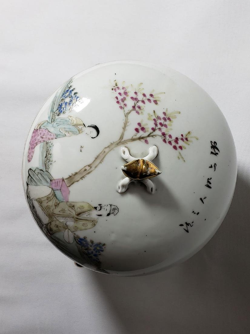 Antique Chinese Famille Rose Enamel Lidded Pot W/ Marks - 4