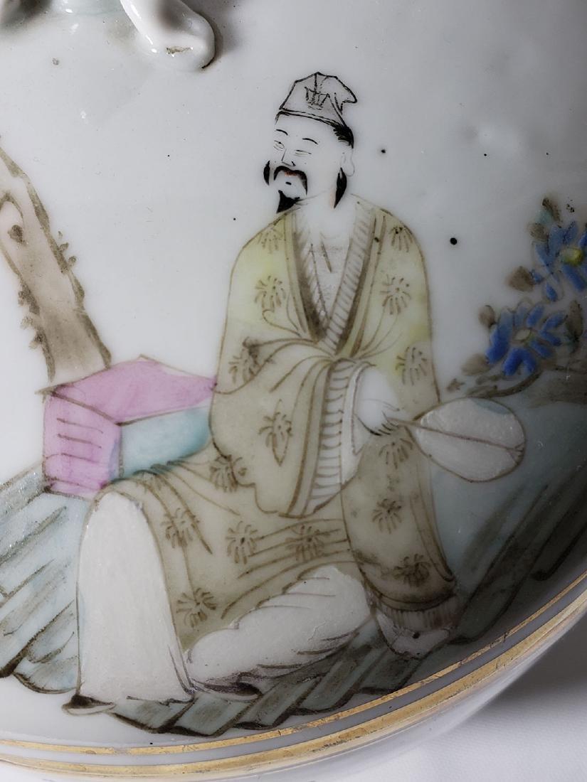 Antique Chinese Famille Rose Enamel Lidded Pot W/ Marks - 5