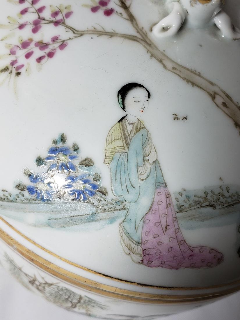 Antique Chinese Famille Rose Enamel Lidded Pot W/ Marks - 6