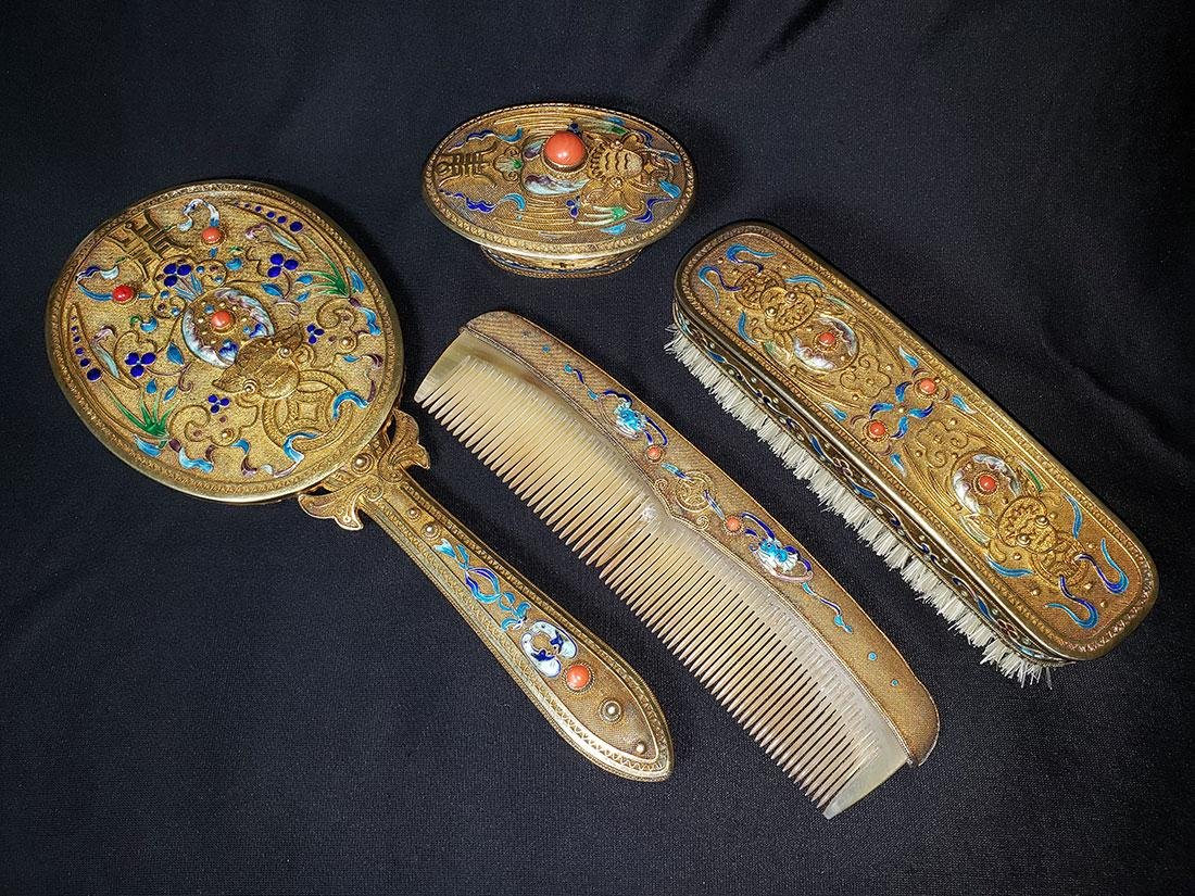 A very fine Chinese enamel sterling dresser set 1900-20