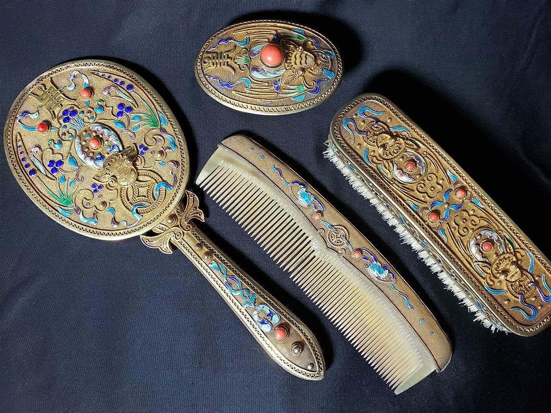 A very fine Chinese enamel sterling dresser set 1900-20 - 2